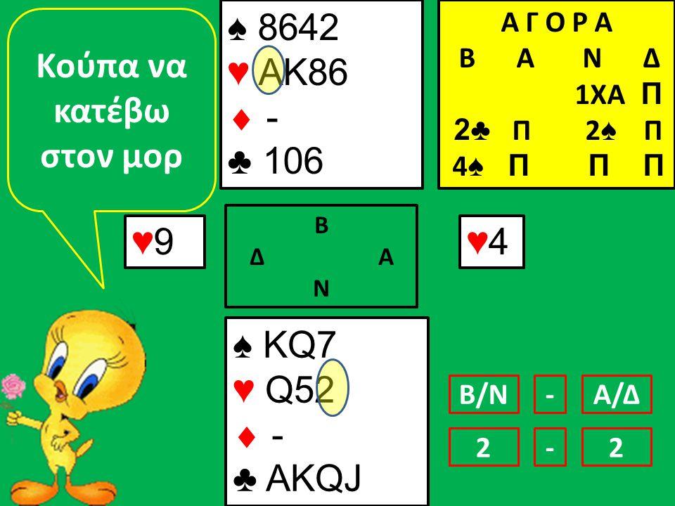♠ 8642 ♥ ΑΚ86  - ♣ 106 ♥9♥9 ♠ KQ7 ♥ Q52  - ♣ AKQJ Α Γ Ο Ρ Α B Α Ν Δ 1ΧΑ Π 2♣ Π 2 ♠ Π 4 ♠ Π Π Π Β Δ Α Ν ♥4♥4 Κούπα να κατέβω στον μορ Β/ΝΑ/Δ- 12-2