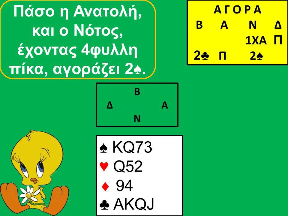 Β Δ Α Ν ♠ KQ73 ♥ Q52  94 ♣ AKQJ Α Γ Ο Ρ Α B Α Ν Δ 1ΧΑ Π 2♣ Π 2 ♠ Πάσο η Δύση, και ο Βορράς, αγοράζει τη μανς στις 4♠.