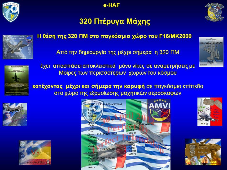 320 Πτέρυγα Μάχης e-HAF H θέση της 320 ΠΜ στο παγκόσμιο χώρο του F16/MK2000 Από την δημιουργία της μέχρι σήμερα η 320 ΠΜ έχει αποσπάσει αποκλειστικά μόνο νίκες σε αναμετρήσεις με Μοίρες των περισσοτέρων χωρών του κόσμου κατέχοντας μέχρι και σήμερα την κορυφή σε παγκόσμιο επίπεδο στο χώρο της εξομοίωσης μαχητικών αεροσκαφών