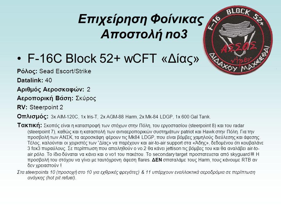 Επιχείρηση Φοίνικας Αποστολή no3 F-16C Block 52+ wCFT «Δίας» Ρόλος: Sead Escort/Strike Datalink: 40 Αριθμός Αεροσκαφών: 2 Αεροπορική Βάση: Σκύρος RV: Steerpoint 2 Οπλισμός: 3x AIM-120C, 1x Iris-T, 2x AGM-88 Harm, 2x Mk-84 LDGP, 1x 600 Gal Tank.