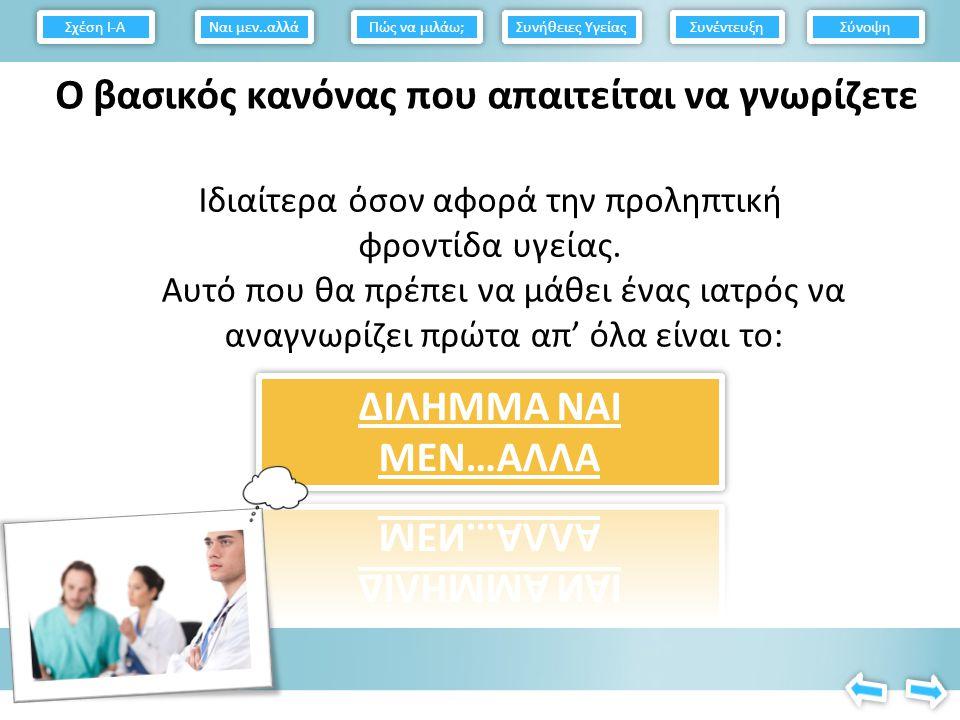 Σχέση Ι-Α Πώς να μιλάω; Συνήθειες Υγείας Συνέντευξη Σύνοψη Ναι μεν..αλλά
