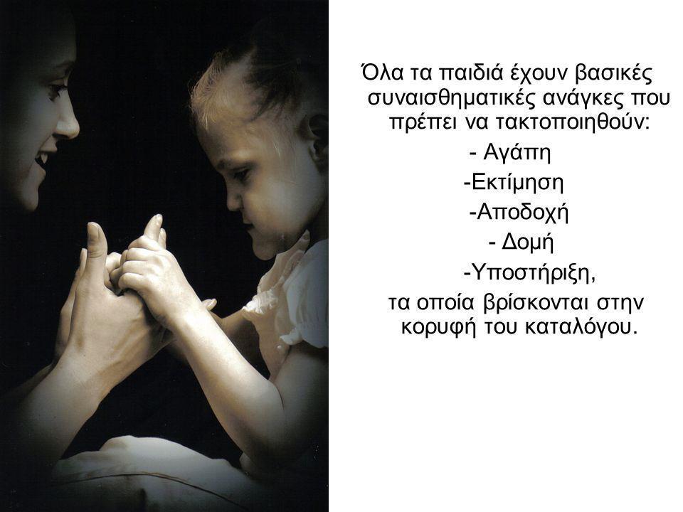 Όλα τα παιδιά έχουν βασικές συναισθηματικές ανάγκες που πρέπει να τακτοποιηθούν: - Αγάπη -Εκτίμηση -Αποδοχή - Δομή -Υποστήριξη, τα οποία βρίσκονται στ
