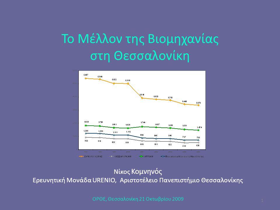 Το Μέλλον της Βιομηχανίας στη Θεσσαλονίκη Νίκος Κομνηνός Ερευνητική Μονάδα URENIO, Αριστοτέλειο Πανεπιστήμιο Θεσσαλονίκης ΟΡΘΕ, Θεσσαλονίκη 21 Οκτωβρί