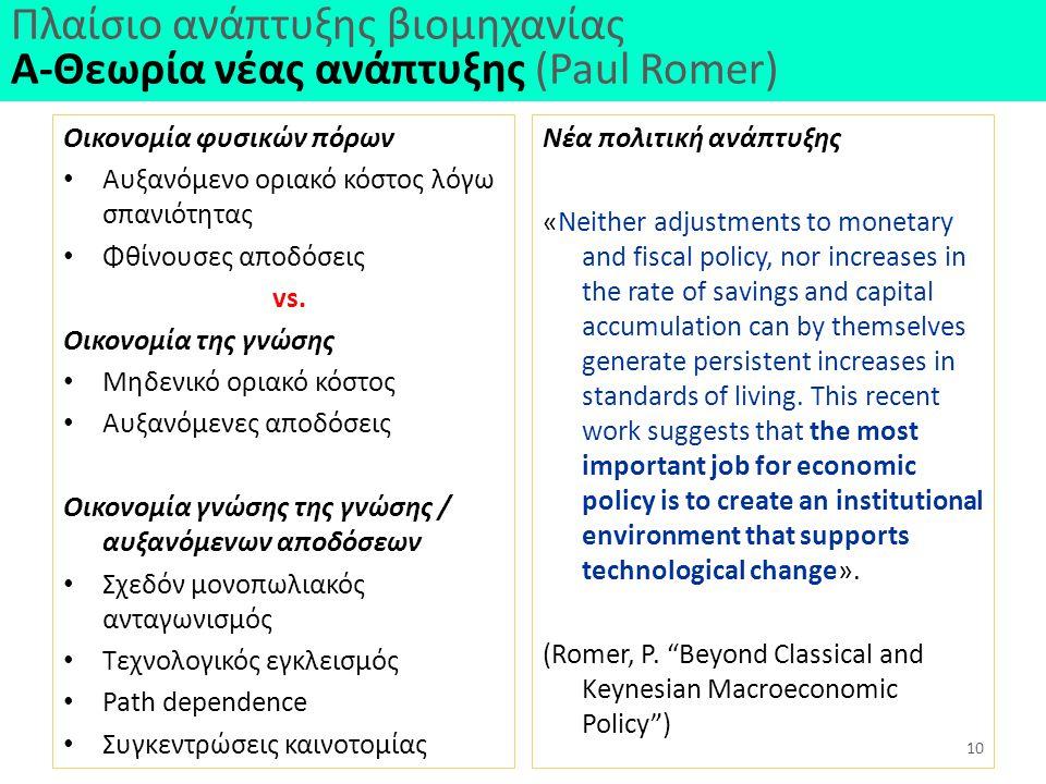 Πλαίσιο ανάπτυξης βιομηχανίας Α-Θεωρία νέας ανάπτυξης (Paul Romer) Οικονομία φυσικών πόρων Αυξανόμενο οριακό κόστος λόγω σπανιότητας Φθίνουσες αποδόσεις vs.