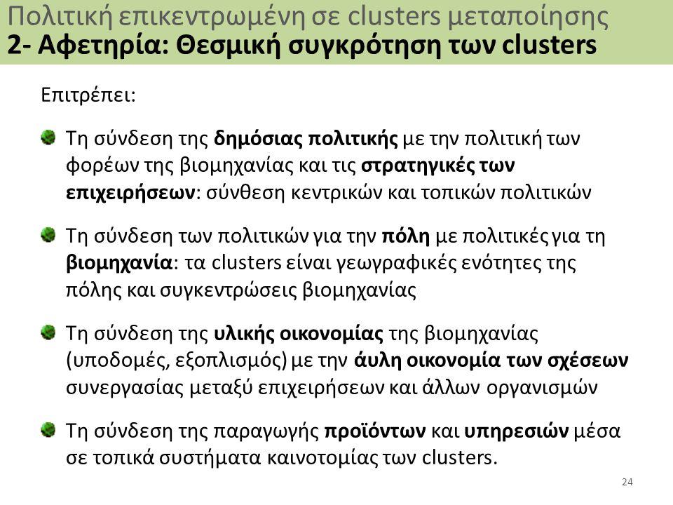 Πολιτική επικεντρωμένη σε clusters μεταποίησης 2- Αφετηρία: Θεσμική συγκρότηση των clusters Επιτρέπει: Τη σύνδεση της δημόσιας πολιτικής με την πολιτική των φορέων της βιομηχανίας και τις στρατηγικές των επιχειρήσεων: σύνθεση κεντρικών και τοπικών πολιτικών Τη σύνδεση των πολιτικών για την πόλη με πολιτικές για τη βιομηχανία: τα clusters είναι γεωγραφικές ενότητες της πόλης και συγκεντρώσεις βιομηχανίας Τη σύνδεση της υλικής οικονομίας της βιομηχανίας (υποδομές, εξοπλισμός) με την άυλη οικονομία των σχέσεων συνεργασίας μεταξύ επιχειρήσεων και άλλων οργανισμών Τη σύνδεση της παραγωγής προϊόντων και υπηρεσιών μέσα σε τοπικά συστήματα καινοτομίας των clusters.
