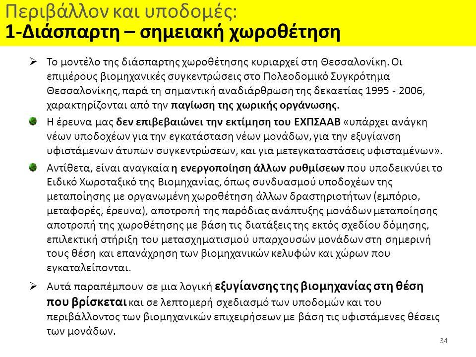 Περιβάλλον και υποδομές: 1-Διάσπαρτη – σημειακή χωροθέτηση  Το μοντέλο της διάσπαρτης χωροθέτησης κυριαρχεί στη Θεσσαλονίκη. Οι επιμέρους βιομηχανικέ