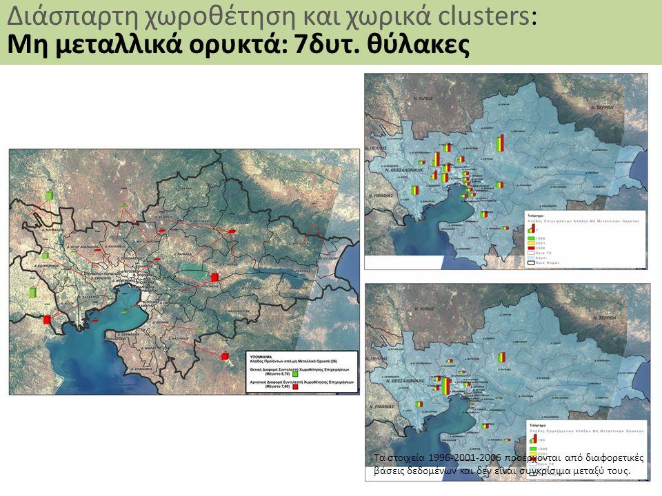 38 Διάσπαρτη χωροθέτηση και χωρικά clusters: Μη μεταλλικά ορυκτά: 7δυτ. θύλακες Τα στοιχεία 1996-2001-2006 προέρχονται από διαφορετικές βάσεις δεδομέν