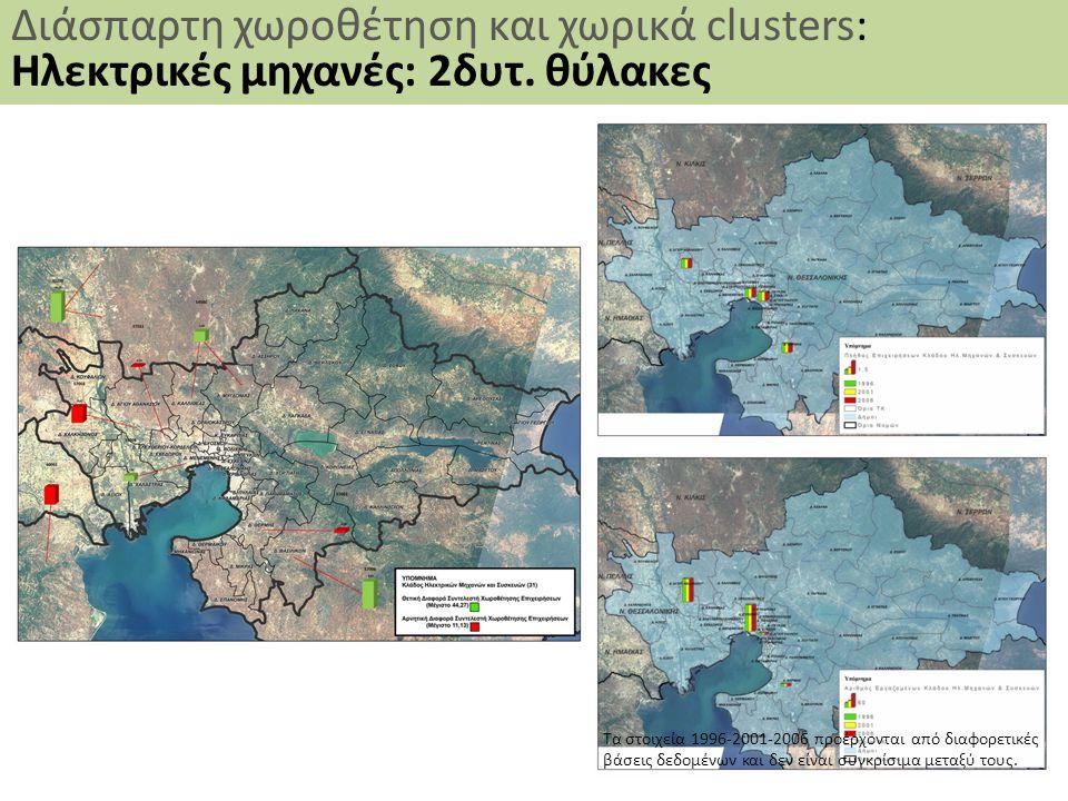 40 Διάσπαρτη χωροθέτηση και χωρικά clusters: Ηλεκτρικές μηχανές: 2δυτ. θύλακες Τα στοιχεία 1996-2001-2006 προέρχονται από διαφορετικές βάσεις δεδομένω
