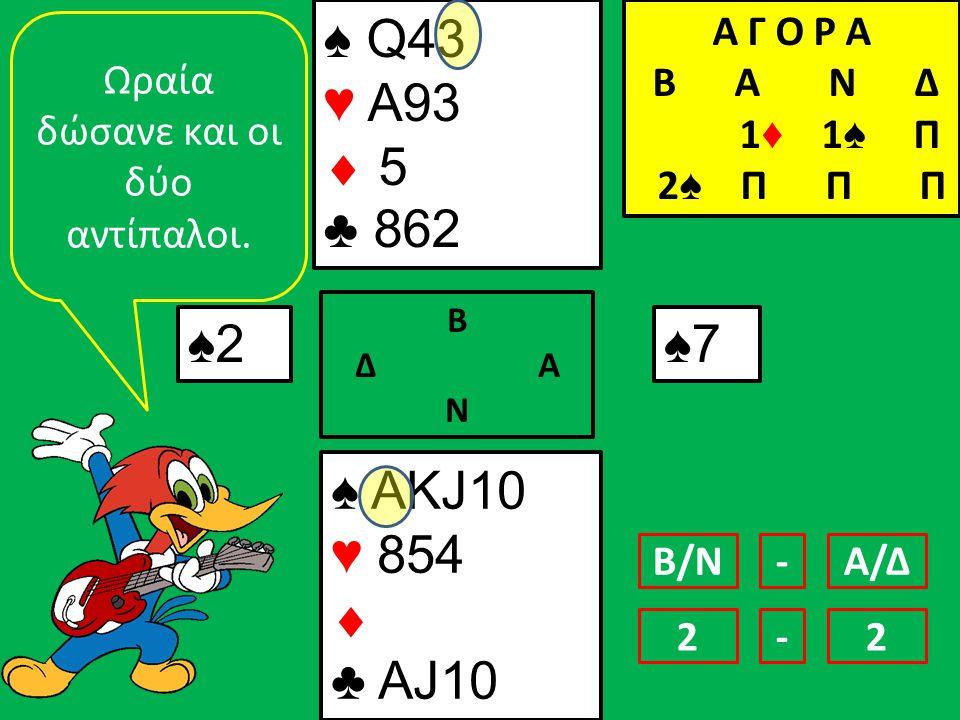 ♠ AΚJ10 ♥ 854  ♣ AJ10 ♠ Q43 ♥ Α93  5 ♣ 862 ♠2 Β Δ Α Ν ♠7 Ωραία δώσανε και οι δύο αντίπαλοι.