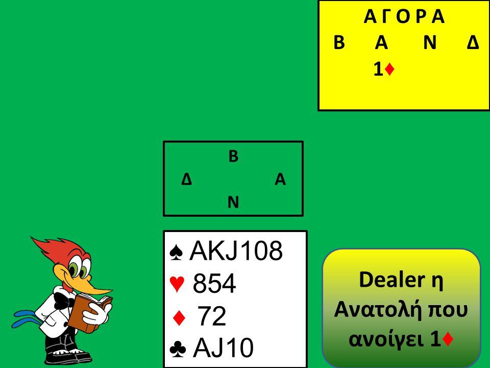 Β Δ Α Ν ♠ AΚJ108 ♥ 854  72 ♣ AJ10 Α Γ Ο Ρ Α B Α Ν Δ 1 ♦ Α Γ Ο Ρ Α B Α Ν Δ 1 ♦ Dealer η Ανατολή που ανοίγει 1 ♦