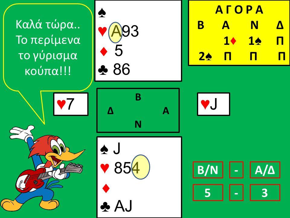 ♠ J ♥ 854  ♣ AJ ♠ ♥ Α93  5 ♣ 86 ♥7♥7 Β Δ Α Ν ♥J♥J Kαλά τώρα.. Το περίμενα το γύρισμα κούπα!!! Β/ΝΑ/Δ- 53- Α Γ Ο Ρ Α B Α Ν Δ 1 ♦ 1 ♠ Π 2 ♠ Π Π Π