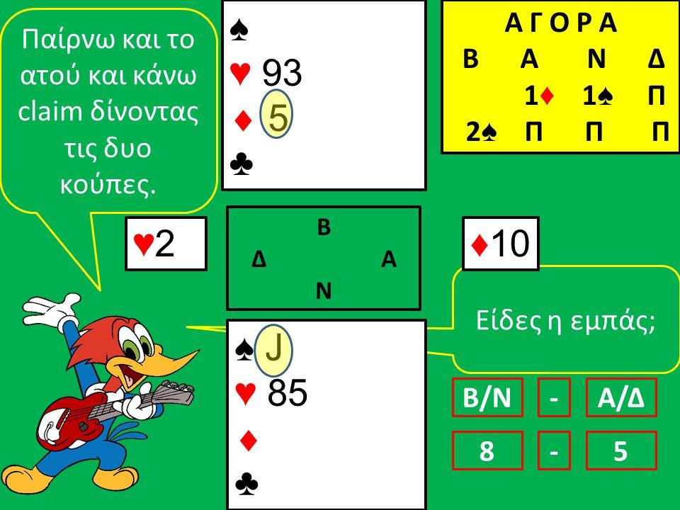 Είδες η εμπάς; ♠ J ♥ 85  ♣ ♠♥ 93 5♣♠♥ 93 5♣ ♥2♥2 Β Δ Α Ν ♦10 Παίρνω και το ατού και κάνω claim δίνοντας τις δυο κούπες.