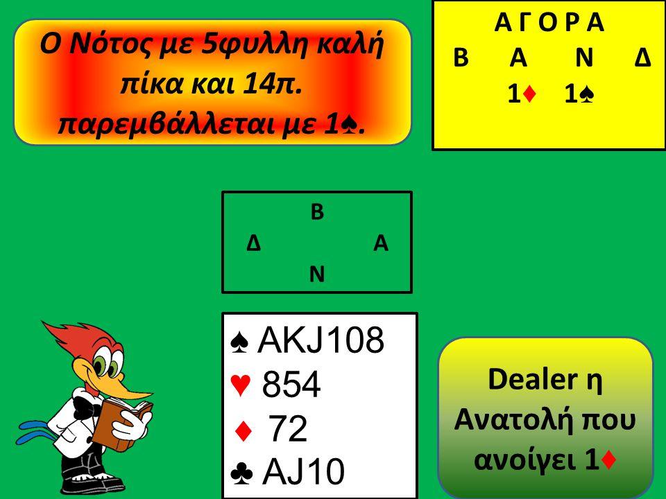 Β Δ Α Ν ♠ AΚJ108 ♥ 854  72 ♣ AJ10 Α Γ Ο Ρ Α B Α Ν Δ 1 ♦ Α Γ Ο Ρ Α B Α Ν Δ 1 ♦ 1 ♠ Ο Νότος με 5φυλλη καλή πίκα και 14π.