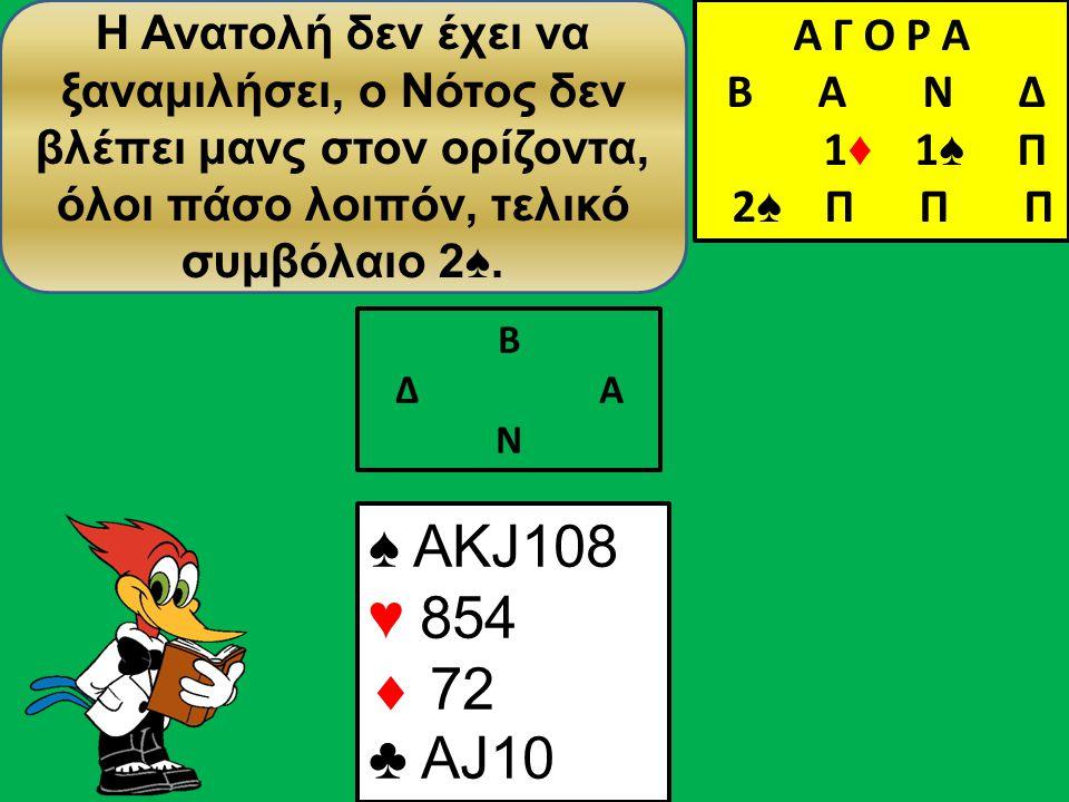 Β Δ Α Ν ♠ AΚJ108 ♥ 854  72 ♣ AJ10 Η Ανατολή δεν έχει να ξαναμιλήσει, ο Νότος δεν βλέπει μανς στον ορίζοντα, όλοι πάσο λοιπόν, τελικό συμβόλαιο 2♠.