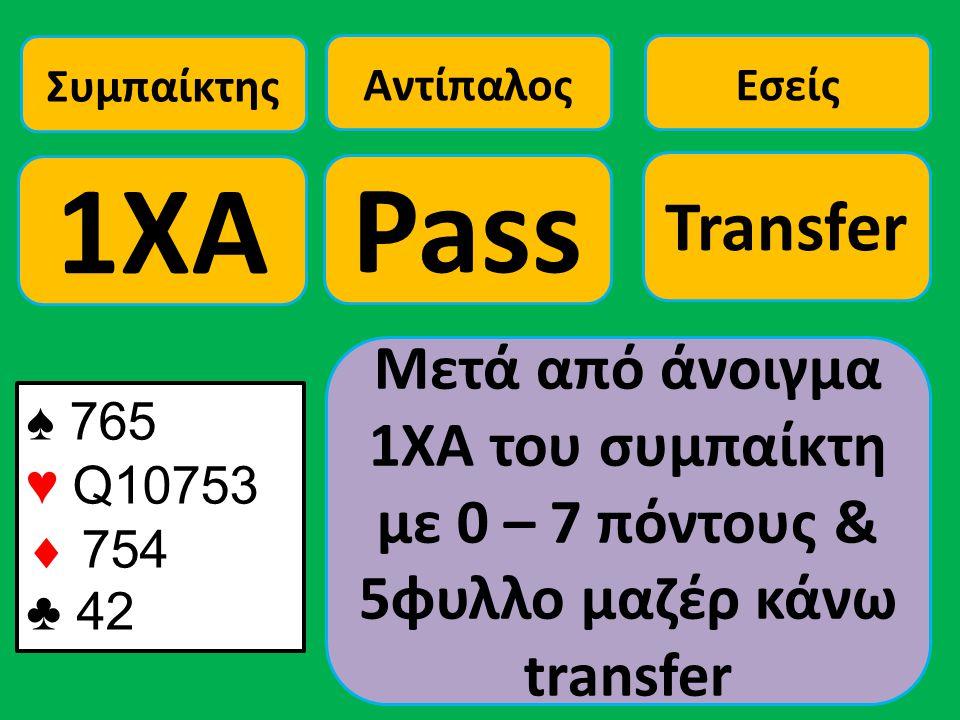♠ 765 ♥ Q10753  754 ♣ 42 Συμπαίκτης 1ΧΑ Αντίπαλος Pass Εσείς Transfer Μετά από άνοιγμα 1ΧΑ του συμπαίκτη με 0 – 7 πόντους & 5φυλλο μαζέρ κάνω transfe