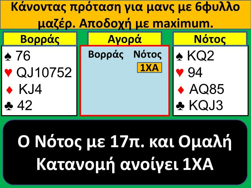 Κάνοντας πρόταση για μανς με 6φυλλο μαζέρ. Αποδοχή με maximum. ♠ 76 ♥ QJ10752  ΚJ4 ♣ 42 Βορράς ♠ ΚQ2 ♥ 94  AQ85 ♣ KQJ3 NότοςΑγορά Βορράς Νότος 1ΧΑ O