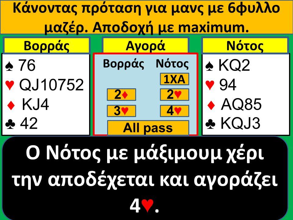 Κάνοντας πρόταση για μανς με 6φυλλο μαζέρ. Αποδοχή με maximum. ♠ 76 ♥ QJ10752  ΚJ4 ♣ 42 Βορράς ♠ ΚQ2 ♥ 94  AQ85 ♣ KQJ3 NότοςΑγορά Βορράς Νότος 1ΧΑ 2