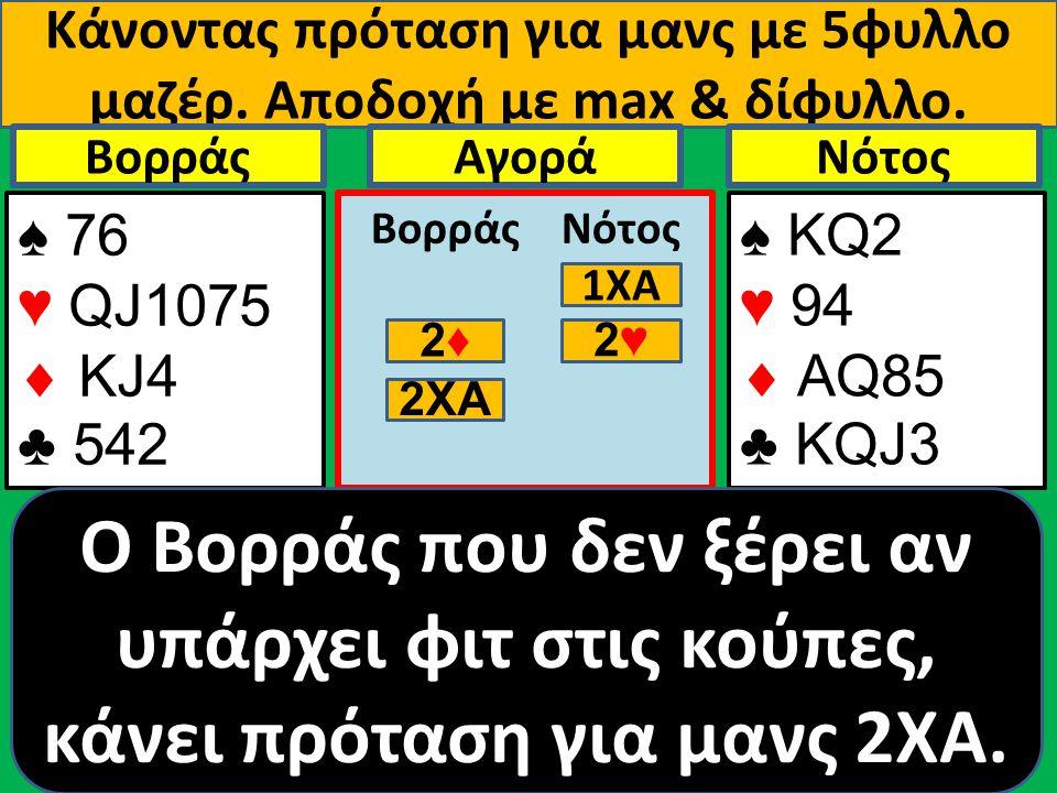 Κάνοντας πρόταση για μανς με 5φυλλο μαζέρ. Αποδοχή με max & δίφυλλο. ♠ 76 ♥ QJ1075  ΚJ4 ♣ 542 Βορράς ♠ ΚQ2 ♥ 94  AQ85 ♣ KQJ3 NότοςΑγορά Βορράς Νότος