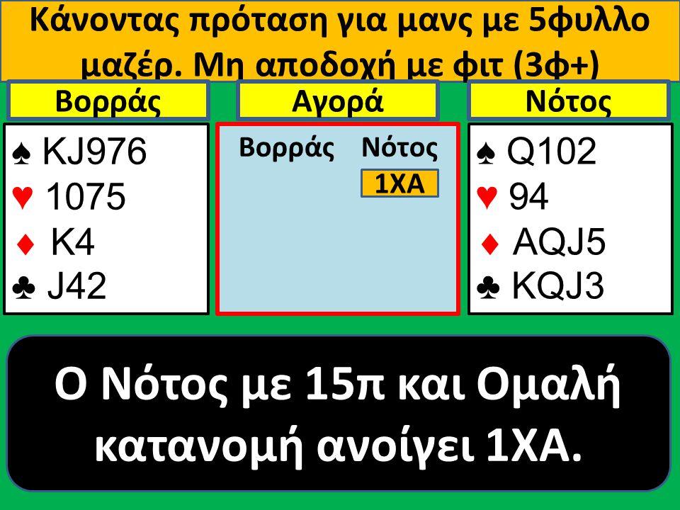 Κάνοντας πρόταση για μανς με 5φυλλο μαζέρ. Μη αποδοχή με φιτ (3φ+) ♠ ΚJ976 ♥ 1075  Κ4 ♣ J42 Βορράς ♠ Q102 ♥ 94  AQJ5 ♣ KQJ3 NότοςΑγορά Βορράς Νότος