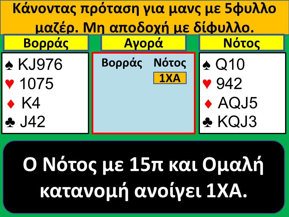 Κάνοντας πρόταση για μανς με 5φυλλο μαζέρ. Μη αποδοχή με δίφυλλο. ♠ ΚJ976 ♥ 1075  Κ4 ♣ J42 Βορράς ♠ Q10 ♥ 942  AQJ5 ♣ KQJ3 NότοςΑγορά Βορράς Νότος 1