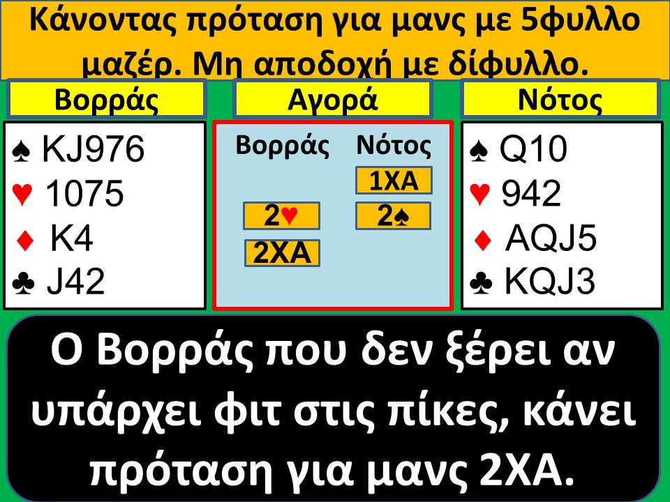 Κάνοντας πρόταση για μανς με 5φυλλο μαζέρ. Μη αποδοχή με δίφυλλο. ♠ ΚJ976 ♥ 1075  Κ4 ♣ J42 Βορράς ♠ Q10 ♥ 942  AQJ5 ♣ KQJ3 NότοςΑγορά Βορράς Νότος O