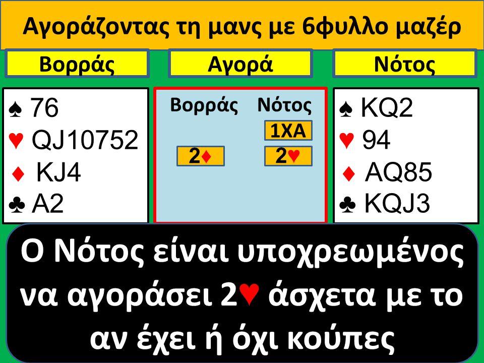 Αγοράζοντας τη μανς με 6φυλλο μαζέρ ♠ 76 ♥ QJ10752  ΚJ4 ♣ Α2 Βορράς ♠ ΚQ2 ♥ 94  AQ85 ♣ KQJ3 NότοςΑγορά Βορράς Νότος O Νότος είναι υποχρεωμένος να αγ