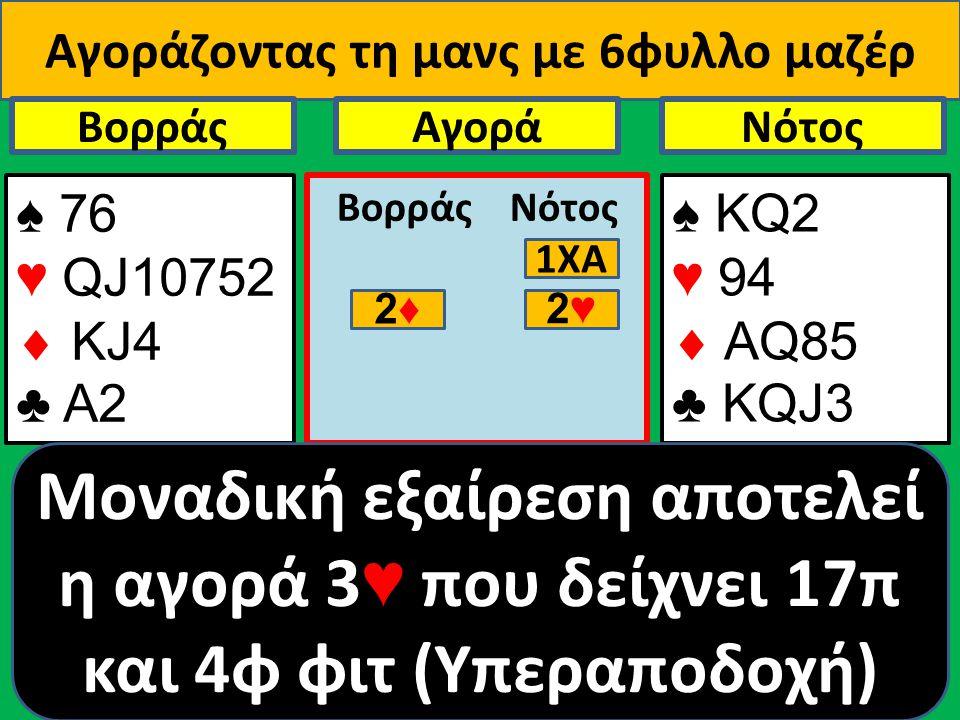 Αγοράζοντας τη μανς με 6φυλλο μαζέρ ♠ 76 ♥ QJ10752  ΚJ4 ♣ Α2 Βορράς ♠ ΚQ2 ♥ 94  AQ85 ♣ KQJ3 NότοςΑγορά Βορράς Νότος Μοναδική εξαίρεση αποτελεί η αγο