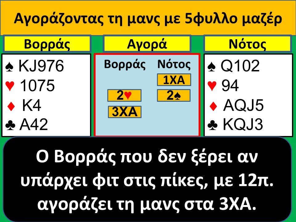 Αγοράζοντας τη μανς με 5φυλλο μαζέρ ♠ ΚJ976 ♥ 1075  Κ4 ♣ Α42 Βορράς ♠ Q102 ♥ 94  AQJ5 ♣ KQJ3 NότοςΑγορά Βορράς Νότος O Βορράς που δεν ξέρει αν υπάρχ