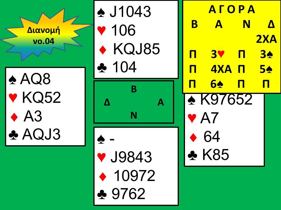 Β Δ Α Ν ♠ AQ8 ♥ KQ52  A3 ♣ AQJ3 ♠ K97652 ♥ A7  64 ♣ K85 Διανομή νο.04 ♠ J1043 ♥ 106  KQJ85 ♣ 104 ♠ - ♥ J9843  10972 ♣ 9762 Α Γ Ο Ρ Α B Α Ν Δ 2XA Π