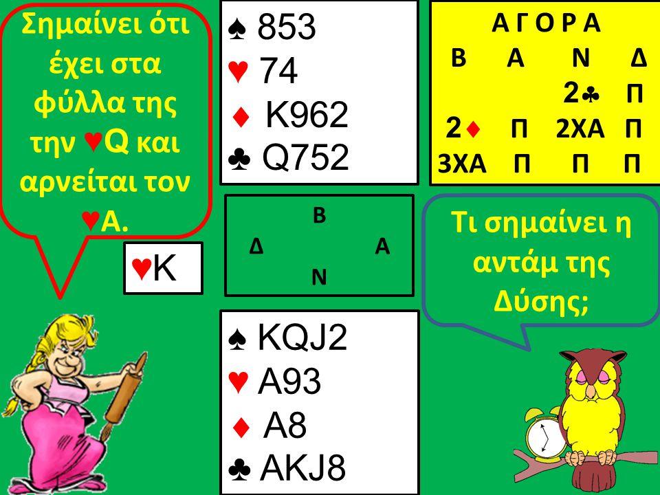Β Δ Α Ν Τι σημαίνει η αντάμ της Δύσης; ♥Κ♥Κ Σημαίνει ότι έχει στα φύλλα της την ♥Q και αρνείται τον ♥ Α.