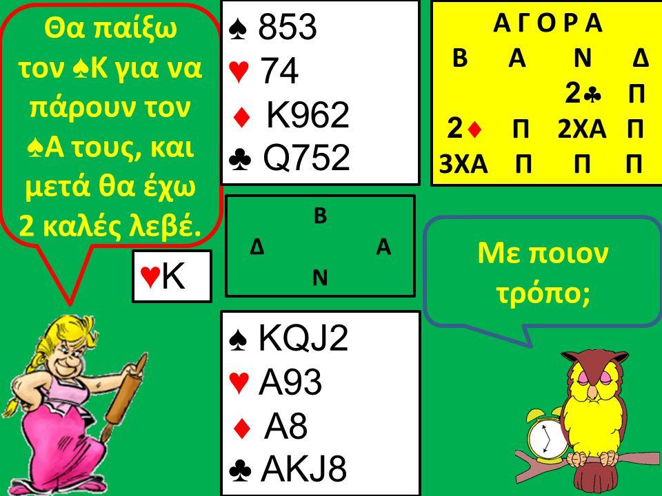 Β Δ Α Ν Με ποιον τρόπο; Θα παίξω τον ♠ Κ για να πάρουν τον ♠ Α τους, και μετά θα έχω 2 καλές λεβέ.