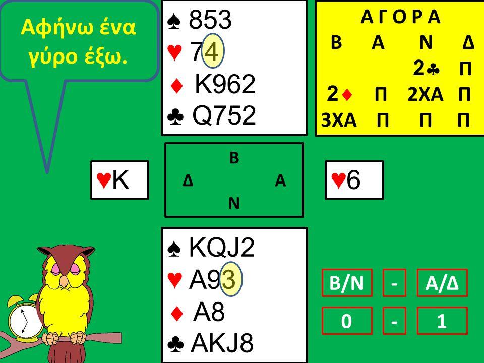 ♠ KQJ2 ♥ A93  A8 ♣ AKJ8 ♠ 853 ♥ 74  Κ962 ♣ Q752 Β Δ Α Ν ♥6♥6 Α Γ Ο Ρ Α B Α Ν Δ 2  Π 2  Π 2ΧΑ Π 3ΧΑ Π Π Π ♥Κ♥Κ Αφήνω ένα γύρο έξω.