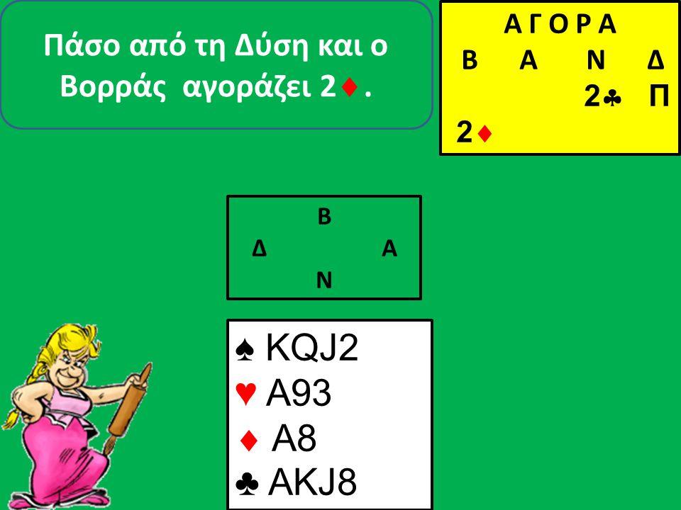 ♠ KQJ2 ♥  A8 ♣ AKJ8 ♠ 853 ♥  Κ96 ♣ Q752 Β Δ Α Ν ♠A Α Γ Ο Ρ Α B Α Ν Δ 2  Π 2  Π 2ΧΑ Π 3ΧΑ Π Π Π ♠4 Και τώρα… ή ταν ή επί τας Β/ΝΑ/Δ- 02-31