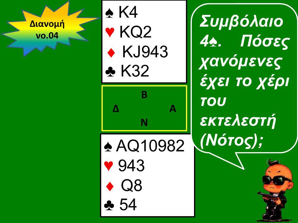 ♠ AQ10982 ♥ 943  Q8 ♣ 54 Β Δ Α Ν Συμβόλαιο 4♠.