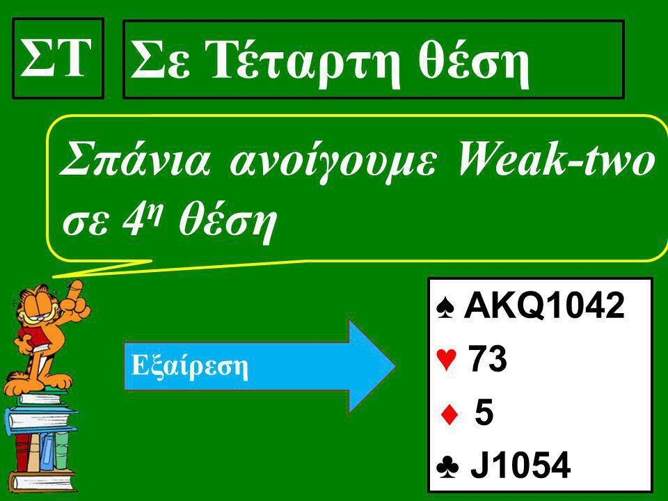 ΣΤ Σε Τέταρτη θέση Σπάνια ανοίγουμε Weak-two σε 4 η θέση ♠ ΑΚQ1042 ♥ 73  5 ♣ J1054 Εξαίρεση