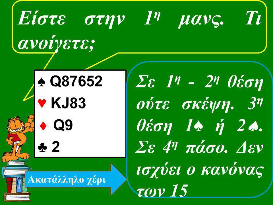 Είστε στην 1 η μανς. Τι ανοίγετε; ♠ Q87652 ♥ KJ83  Q9 ♣ 2 Σε 1 η - 2 η θέση ούτε σκέψη. 3 η θέση 1 ♠ ή 2 . Σε 4 η πάσο. Δεν ισχύει ο κανόνας των 15
