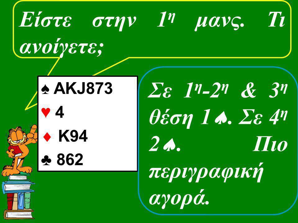 Είστε στην 1 η μανς. Τι ανοίγετε; ♠ AKJ873 ♥ 4  K94 ♣ 862 Σε 1 η -2 η & 3 η θέση 1 . Σε 4 η 2 . Πιο περιγραφική αγορά.