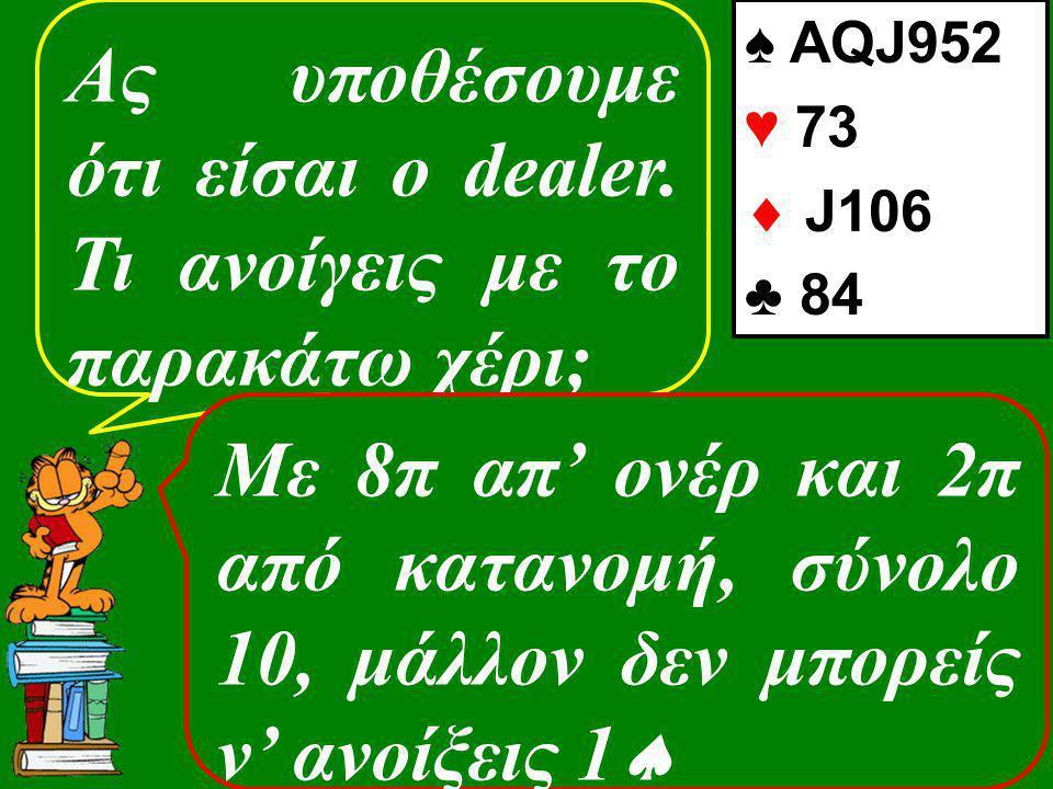 Ας υποθέσουμε ότι είσαι ο dealer. Τι ανοίγεις με το παρακάτω χέρι; ♠ AQJ952 ♥ 73  J106 ♣ 84 Με 8π απ' ονέρ και 2π από κατανομή, σύνολο 10, μάλλον δεν