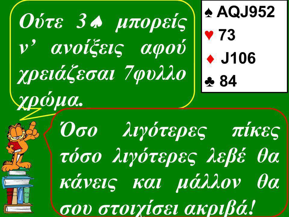 Ούτε 3  μπορείς ν' ανοίξεις αφού χρειάζεσαι 7φυλλο χρώμα. ♠ AQJ952 ♥ 73  J106 ♣ 84 Όσο λιγότερες πίκες τόσο λιγότερες λεβέ θα κάνεις και μάλλον θα σ
