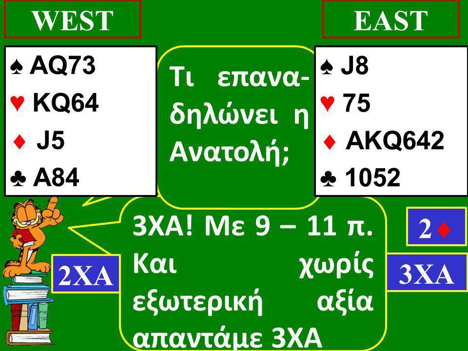 3ΧΑ! Με 9 – 11 π. Και χωρίς εξωτερική αξία απαντάμε 3ΧΑ WESTEAST Τι επανα- δηλώνει η Ανατολή; 2ΧΑ 22 3ΧΑ ♠ J8 ♥ 75  AΚQ642 ♣ 1052 ♠ AQ73 ♥ KQ64  J