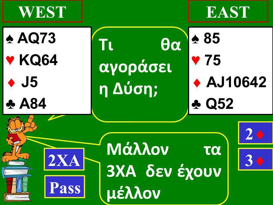 Mάλλον τα 3ΧΑ δεν έχουν μέλλον WESTEAST Τι θα αγοράσει η Δύση; 2ΧΑ 22 Pass ♠ AQ73 ♥ KQ64  J5 ♣ Α84 33 ♠ 85 ♥ 75  AJ10642 ♣ Q52