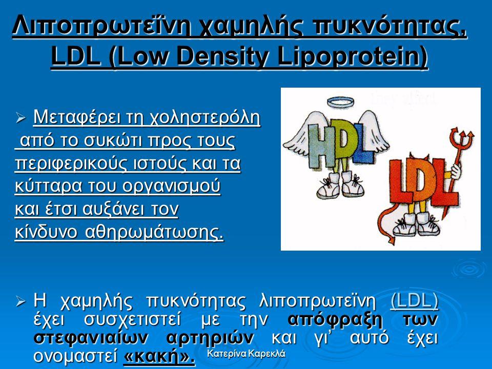 Λιποπρωτεΐνη χαμηλής πυκνότητας, LDL (Low Density Lipoprotein)  Μεταφέρει τη χοληστερόλη από το συκώτι προς τους από το συκώτι προς τους περιφερικούς