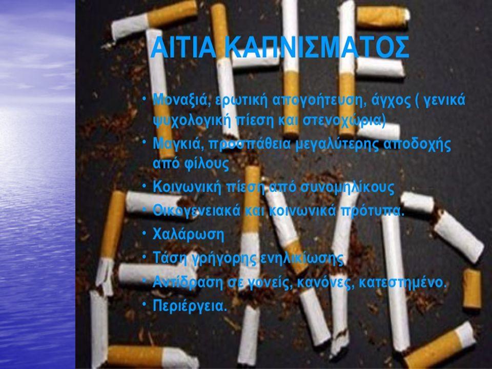 Κάποιες από τις βλαβερές ουσίες του καπνού είναι: Ακετόνη, ξεβαφτικό νυχιών Ακετόνη, ξεβαφτικό νυχιών Οξικό οξύ Οξικό οξύ Αμμωνία Αμμωνία Αρσενικό, δηλητήριο συστατικό των ζιζανιοκτόνων Αρσενικό, δηλητήριο συστατικό των ζιζανιοκτόνων Βενζόλιο Βενζόλιο DDT, εντομοκτόνο DDT, εντομοκτόνο Κάδμιο, μπαταρίες Κάδμιο, μπαταρίες Μονοξείδιο του άνθρακα Μονοξείδιο του άνθρακα Τετραχλωράνθρακας Τετραχλωράνθρακας Φορμαλδεΰδη, υγρό βαλσάμωσης Φορμαλδεΰδη, υγρό βαλσάμωσης Υδρογονάνθρακες, υγρά αυτοκινήτων Υδρογονάνθρακες, υγρά αυτοκινήτων Υδροκυάνιο, βιομηχανικός ρύπος χρησιμοποιείται στο θάλαμο αερίων των ΗΠΑ Υδροκυάνιο, βιομηχανικός ρύπος χρησιμοποιείται στο θάλαμο αερίων των ΗΠΑ Νικοτίνη, εντομοκτόνο Νικοτίνη, εντομοκτόνο Ισοκυανικό μεθύλιο Ισοκυανικό μεθύλιο Πίσσα, επίστρωση επιφάνειας δρόμων Πίσσα, επίστρωση επιφάνειας δρόμων