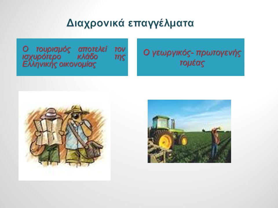 Ο τουρισμός αποτελεί τον ισχυρότερο κλάδο της Ελληνικής οικονομίας Ο γεωργικός- πρωτογενής τομέας