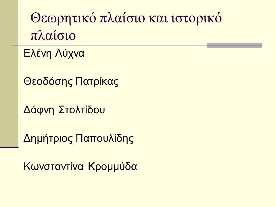 Θεωρητικό πλαίσιο και ιστορικό πλαίσιο Ελένη Λύχνα Θεοδόσης Πατρίκας Δάφνη Στολτίδου Δημήτριος Παπουλίδης Κωνσταντίνα Κρομμύδα
