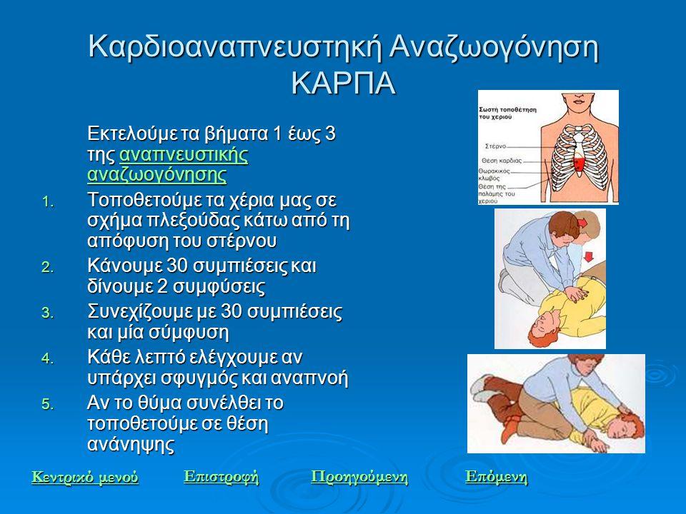 Καρδιοαναπνευστηκή Αναζωογόνηση ΚΑΡΠΑ Εκτελούμε τα βήματα 1 έως 3 της αναπνευστικής αναζωογόνησης αναπνευστικής αναζωογόνησηςαναπνευστικής αναζωογόνησ