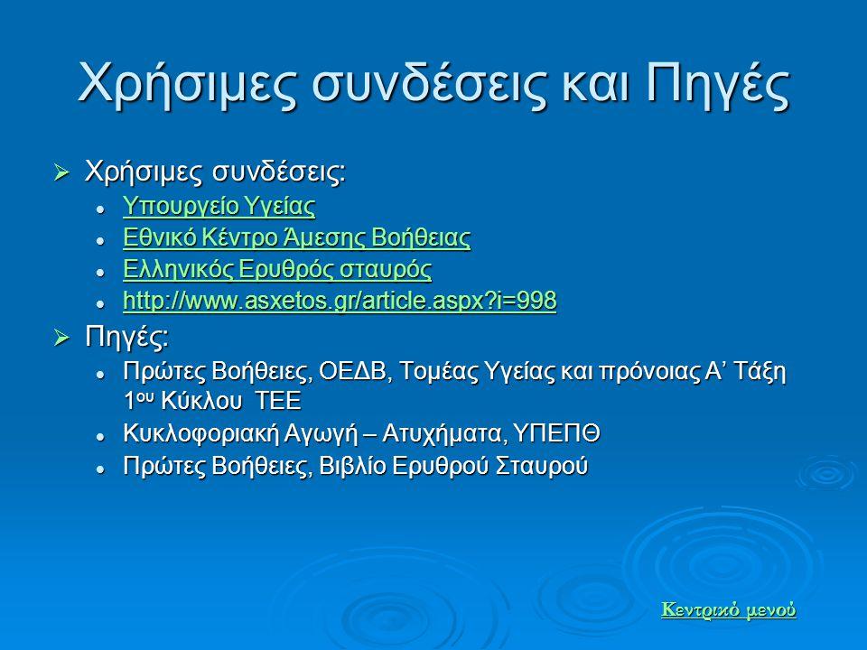 Χρήσιμες συνδέσεις και Πηγές  Χρήσιμες συνδέσεις: Υπουργείο Υγείας Υπουργείο Υγείας Υπουργείο Υγείας Υπουργείο Υγείας Εθνικό Κέντρο Άμεσης Βοήθειας Ε