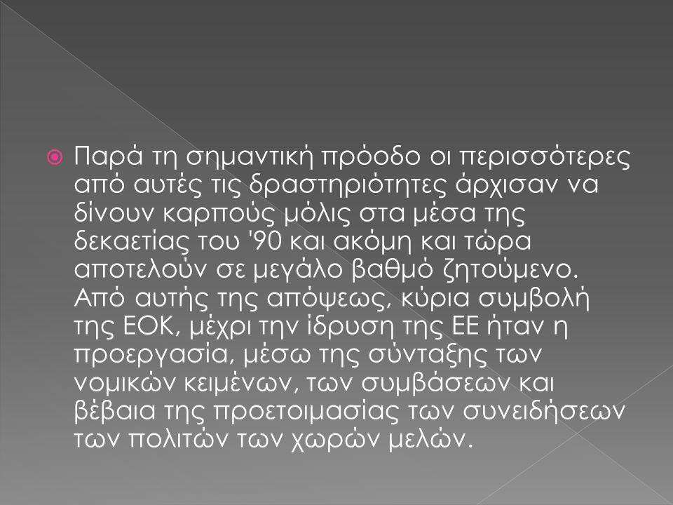  Ευρωπαϊκό κοινοβούλιο  Συμβούλιο της ευρωπαϊκής ένωσης  Δικαστήριο των ευρωπαϊκών κοινοτήτων  Ευρωπαϊκό ελεγκτικό συμβούλιο  Ευρωπαϊκή οικονομική και κοινωνική επιτροπή  Επιτροπή των περιφερειών  Ευρωπαϊκή τράπεζα επενδύσεων