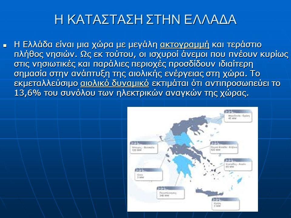 Η ΚΑΤΑΣΤΑΣΗ ΣΤΗΝ ΕΛΛΑΔΑ Η Ελλάδα είναι μια χώρα με μεγάλη ακτογραμμή και τεράστιο πλήθος νησιών. Ως εκ τούτου, οι ισχυροί άνεμοι που πνέουν κυρίως στι
