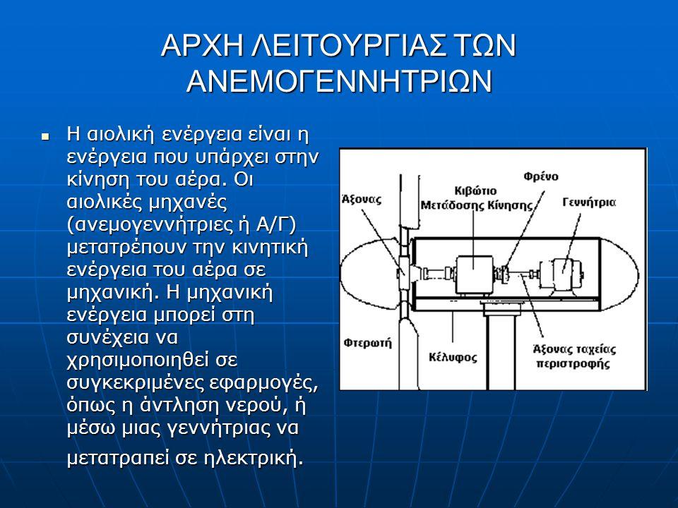 ΑΡΧΗ ΛΕΙΤΟΥΡΓΙΑΣ ΤΩΝ ΑΝΕΜΟΓΕΝΝΗΤΡΙΩΝ Η αιολική ενέργεια είναι η ενέργεια που υπάρχει στην κίνηση του αέρα. Οι αιολικές μηχανές (ανεμογεννήτριες ή Α/Γ)